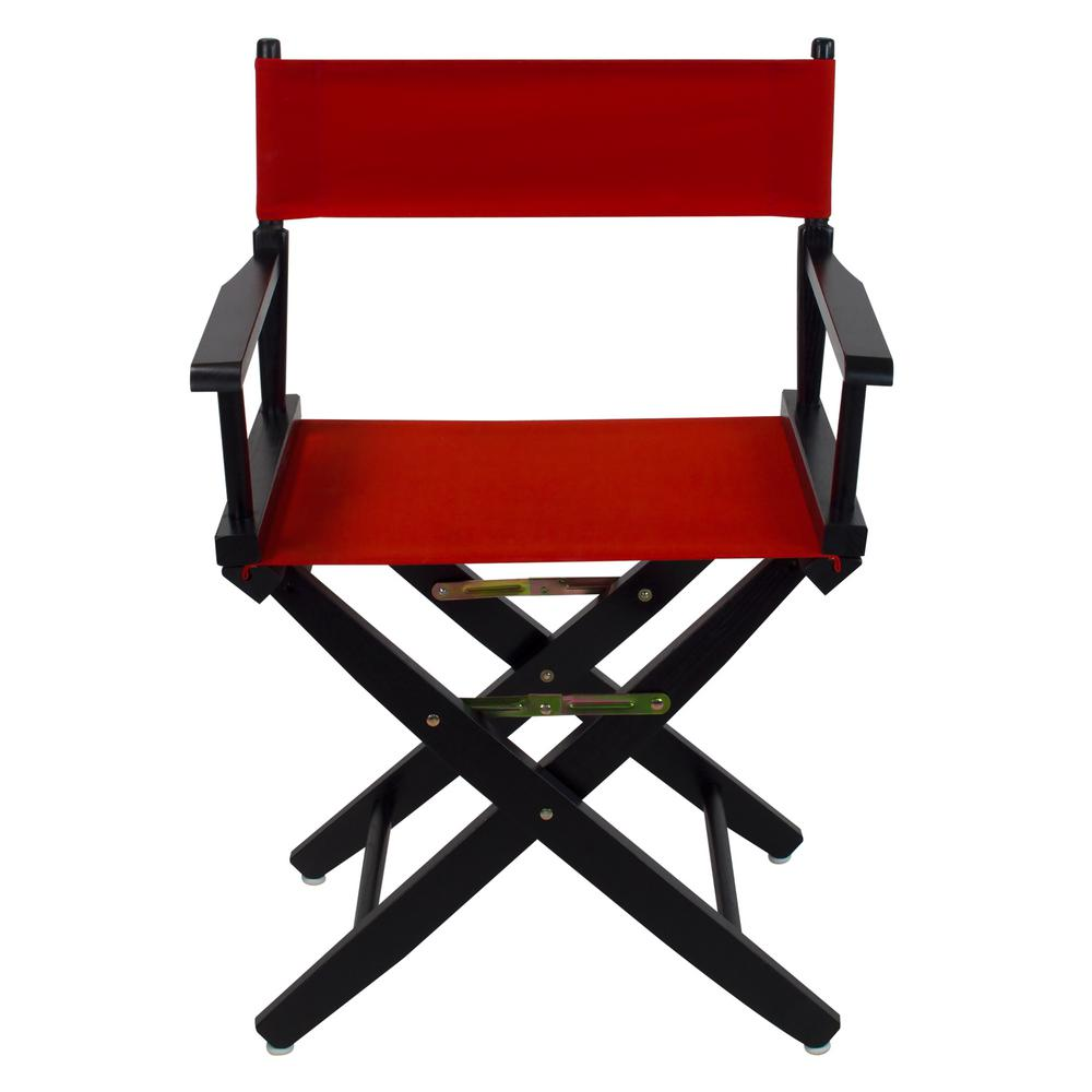 Black Directors Chair American Trails 18 In Extra Wide Black Wood Frame Red Canvas Seat Folding Directors Chair