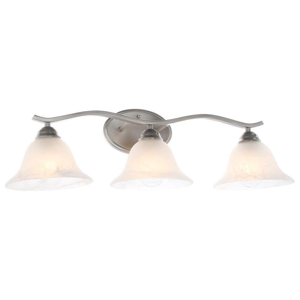 medium resolution of hampton bay andenne 3 light brushed nickel vanity light with bell shaped marbleized glass shades