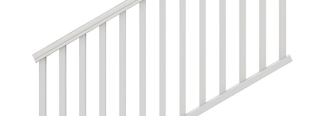 Veranda Traditional 6 Ft X 36 In White Polycomposite Stair Rail | Home Depot Stairs Outdoor | Treated Pine | Stair Tread | Stair Railing Kit | Metal | Handrail