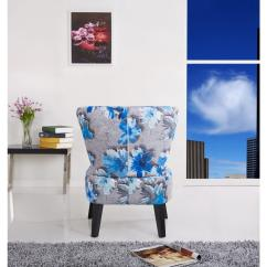 Blue Pattern Accent Chair Desk Height Cora Contemporary Floral Print Fabric Upholstered Grey