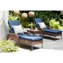 Hampton Bay Cambridge Brown Wicker Outdoor Chaise Lounge