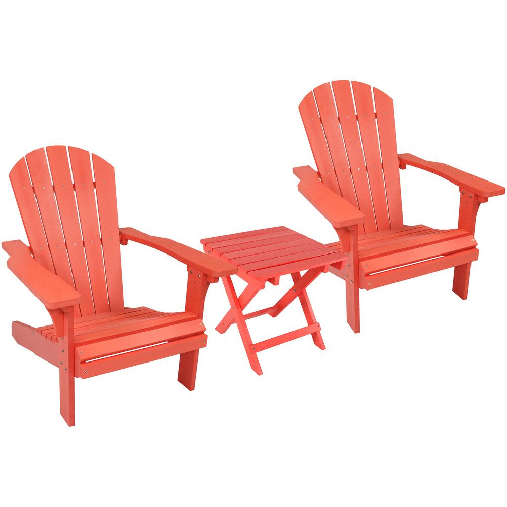 Adirondack Chair Set Sunnydaze Decor All Weather Salmon Plastic Patio Adirondack Chair With Side Table Set Of 2