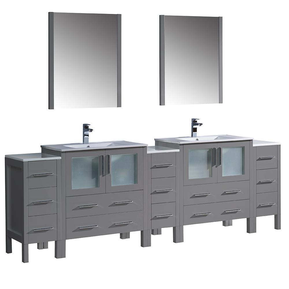 Fresca Torino 96 In Double Vanity In Gray With Ceramic Vanity Tops In White With White Basins Side And Middle Cabinet Mirrors Fvn62 96gr Uns The Home Depot