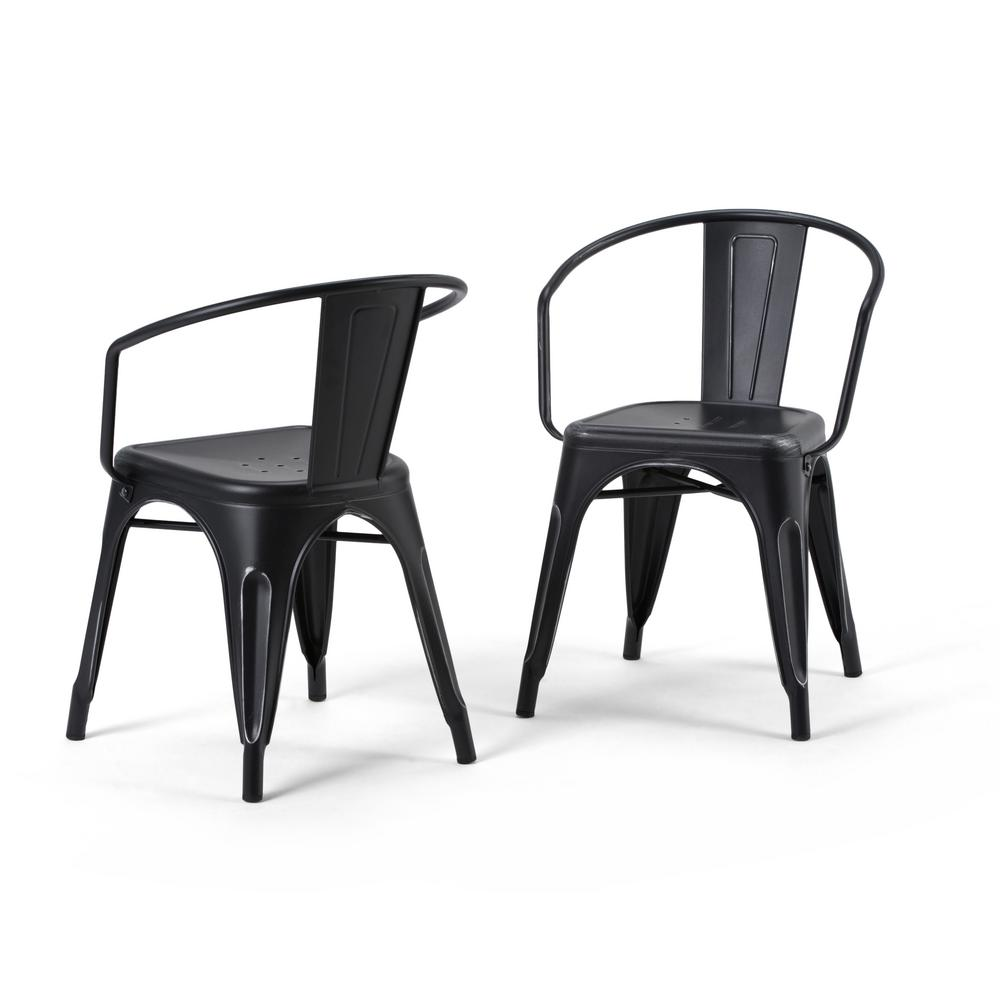 distressed black dining chairs key west hammock simpli home larkin and silver metal arm chair set of 2