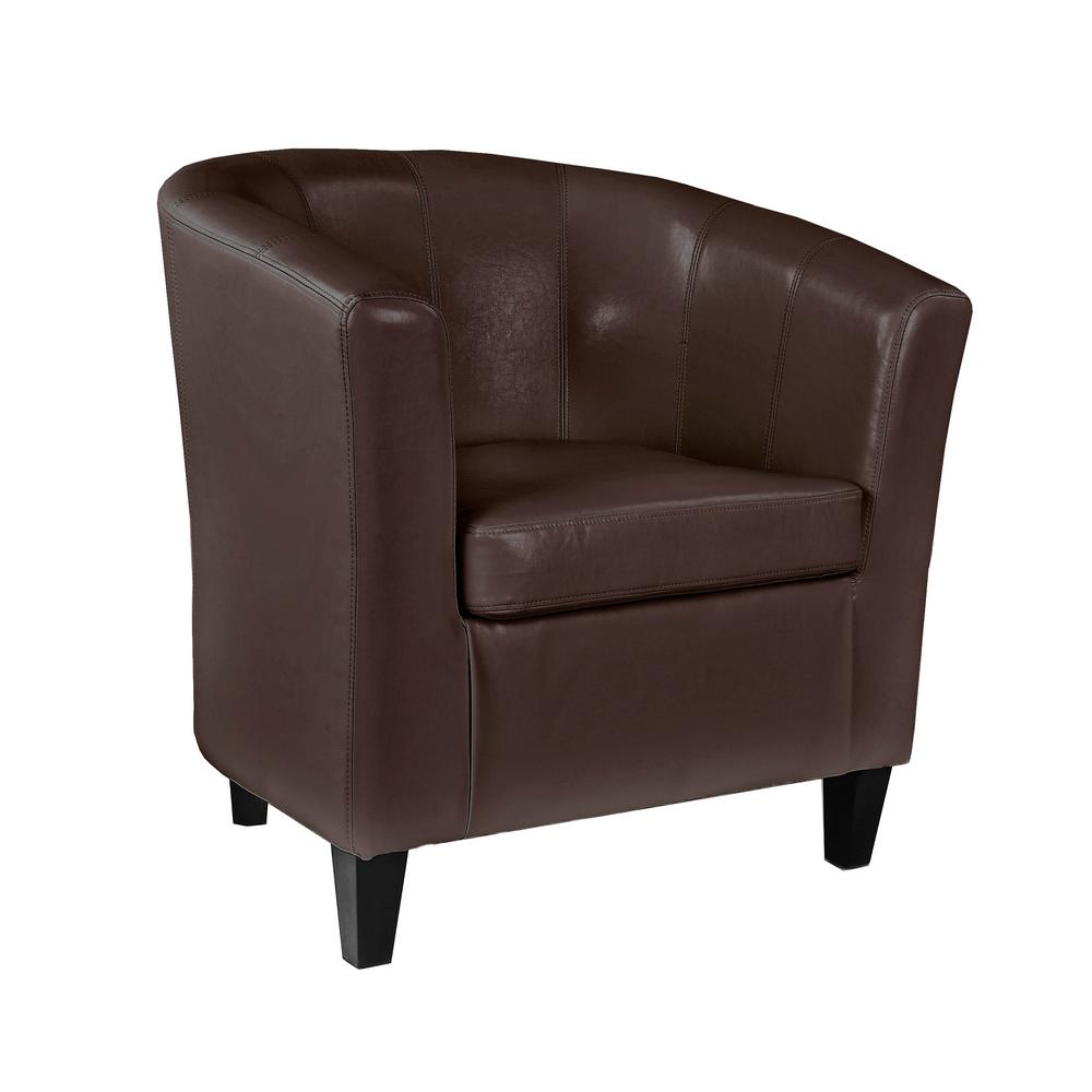tub chair brown leather covers cheshire corliving antonio bonded lad 725 c the home depot