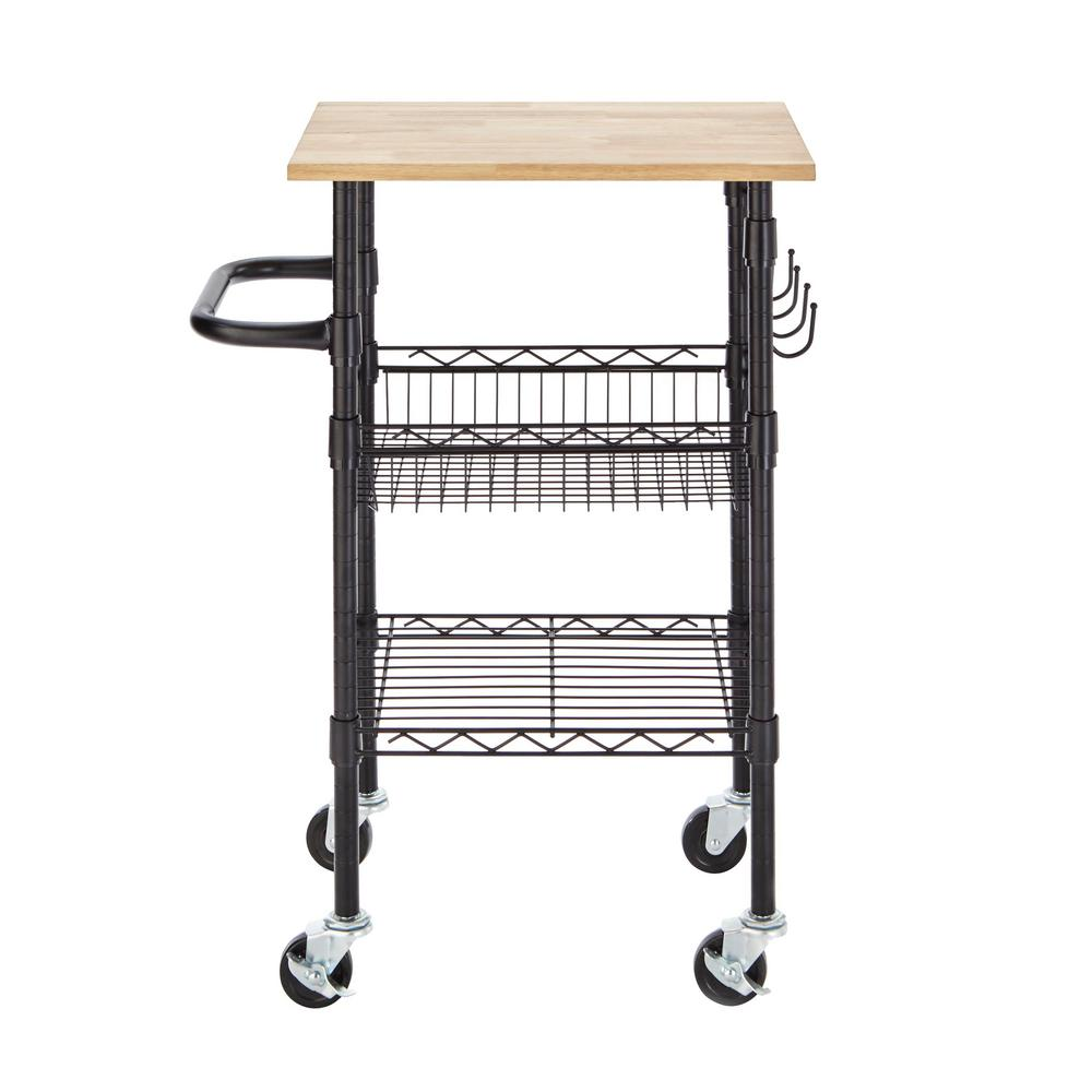 small kitchen carts sink pendant light stylewell gatefield black cart with rubber wood top