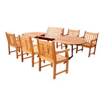 Vifah Malibu 7-piece Wood Oval Outdoor Dining Set