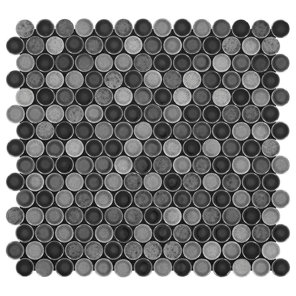 black penny round porcelain mosaic tile