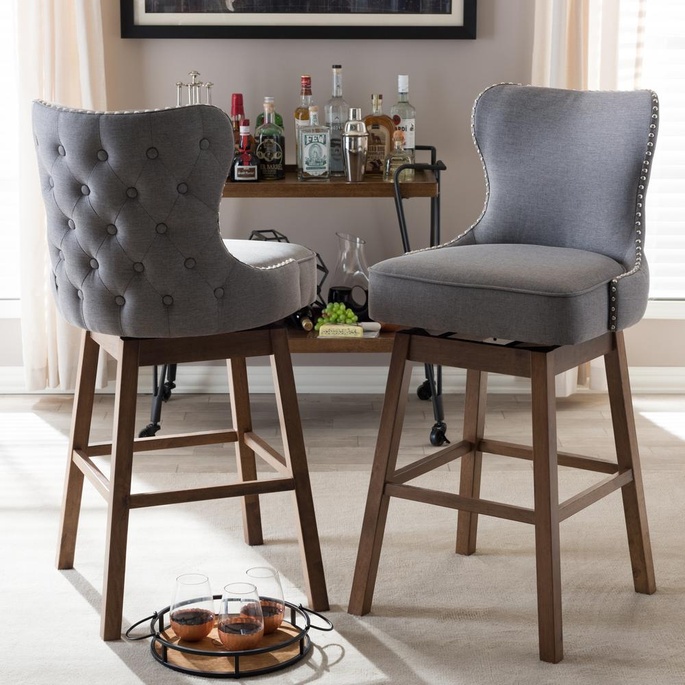 Upholstered Bar Chairs Baxton Studio Gradisca 31 In Gray Fabric Upholstered Swivel Bar