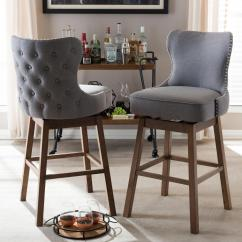 Bar Stool Chair Grey X Rocker Pro Gaming Baxton Studio Gradisca 31 In Gray Fabric Upholstered Swivel Set Of 2