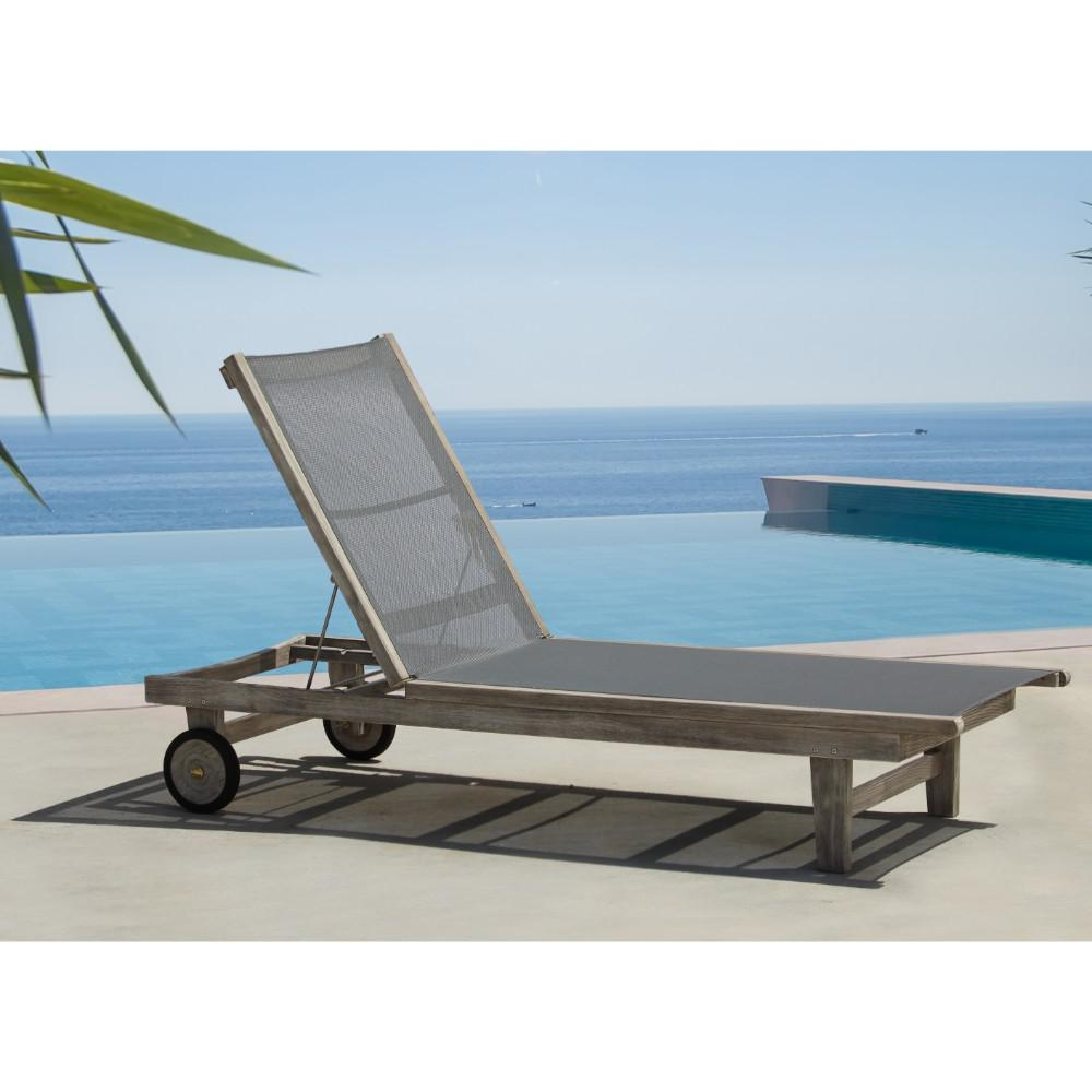 Teak Chaise Lounge Chairs Courtyard Casual Deck Side Collection Teak Outdoor Sling Lounge Chair With Grey Cushions