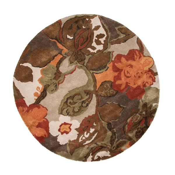 Round Floral Area Rugs