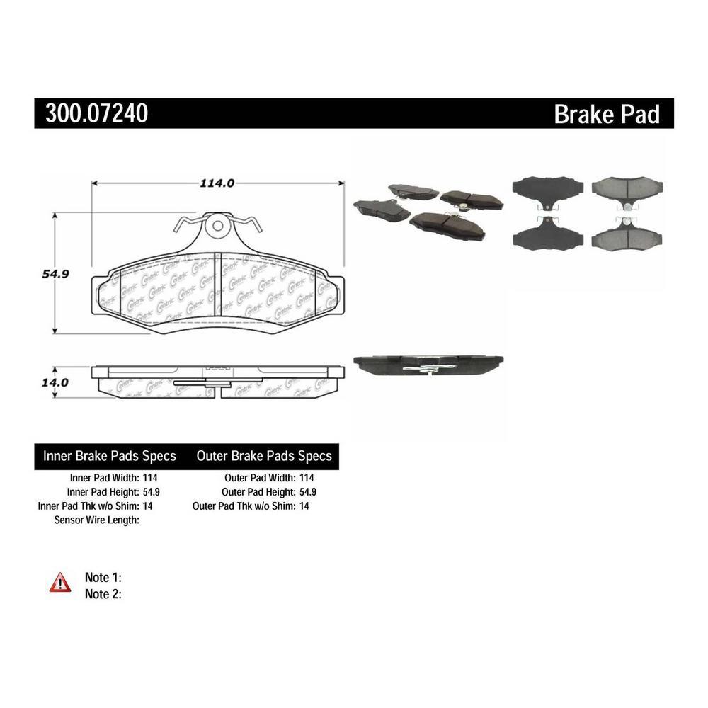 Centric Disc Brake Pad Set 1997-2004 Mitsubishi Diamante