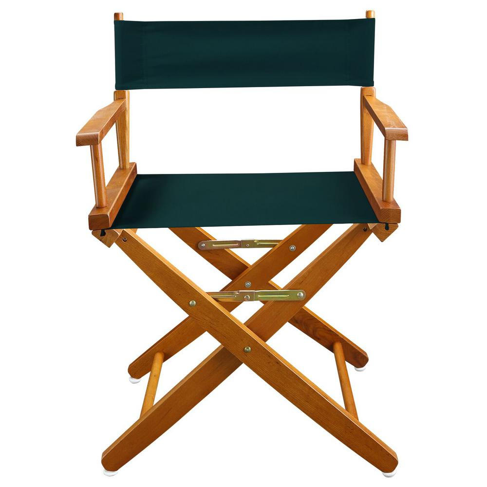 Folding Director Chair American Trails 18 In Extra Wide Mission Oak Wood Frame Hunter Green Canvas Seat Folding Directors Chair