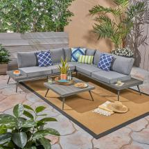 Noble House Norfolk Gray 4-piece Wood And Aluminum Patio