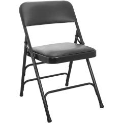 Black Padded Folding Chairs Beach Advantage 1 In Vinyl Seat Metal Chair