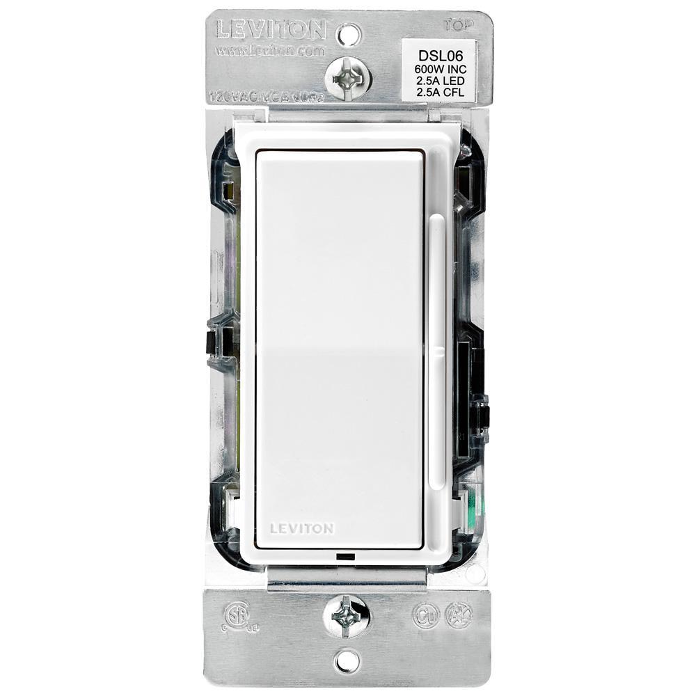 medium resolution of leviton decora 600 watt single pole 3 way universal rocker slide dimmer