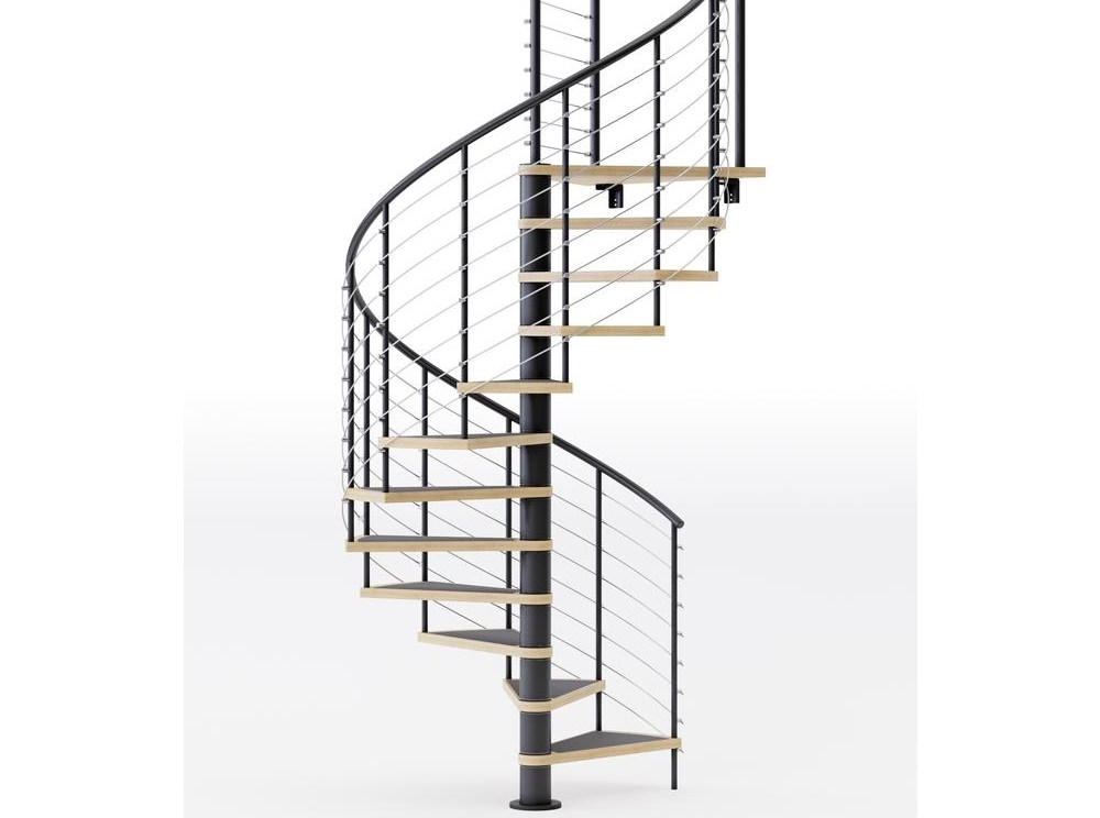 Mylen Stairs Hayden Black Interior 60 Diameter 10 Treads With 1 | 10 Foot Spiral Staircase | Reroute Galvanized | Lowes | Stair Kit | Winding Staircase | Staircase Kit