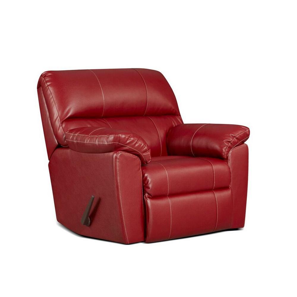 red recliner chairs lifeguard chair floor lamp recliners the home depot buckland austin rocker