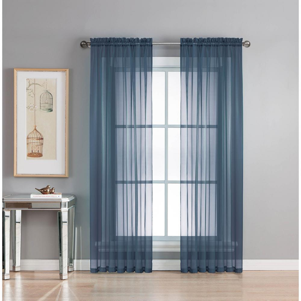 Window Elements Sheer Diamond Sheer Indigo Rod Pocket Extra Wide Curtain Panel 56 in W x 84 in