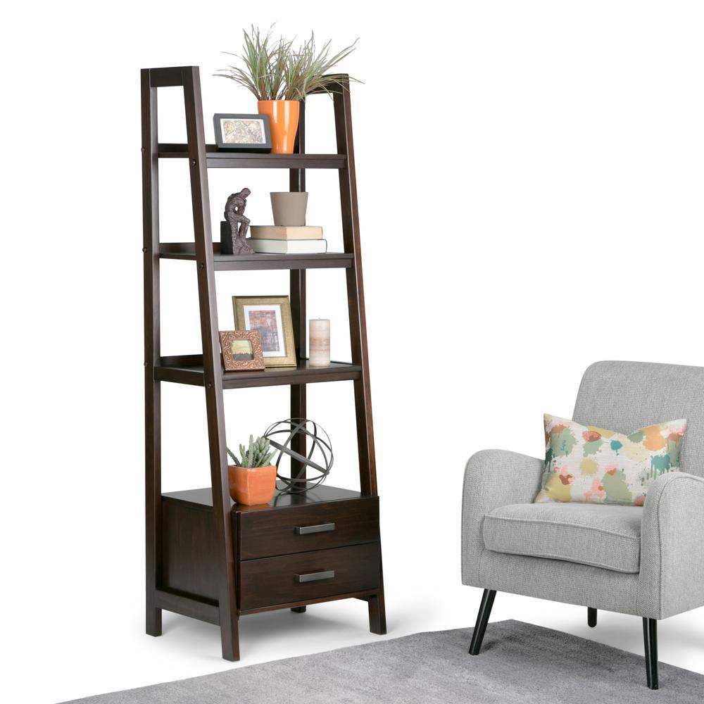 Simpli Home Sawhorse Dark Chestnut Brown Storage Ladder
