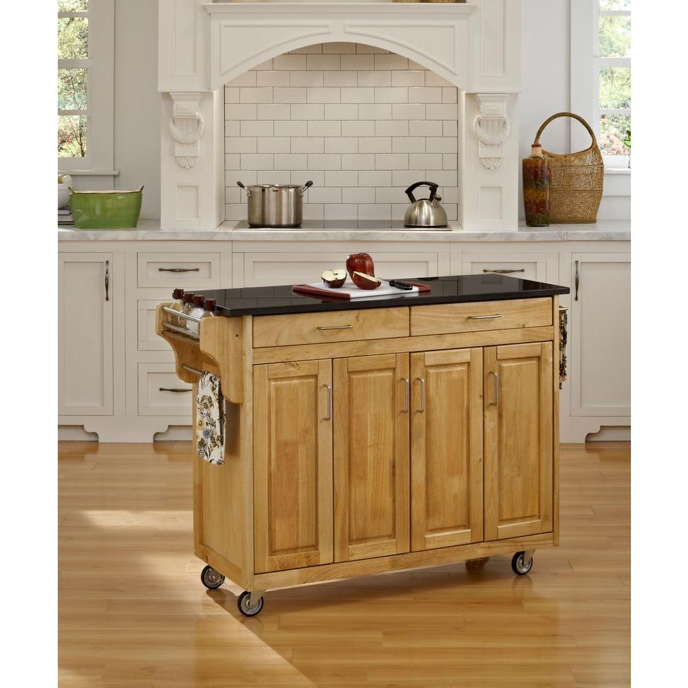 granite top kitchen cart farmhouse sink home styles create a natural with black