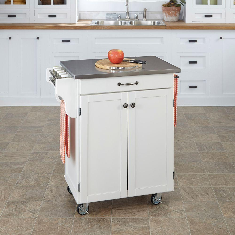 home styles kitchen cart inexpensive countertops options create a white with stainless top 9001