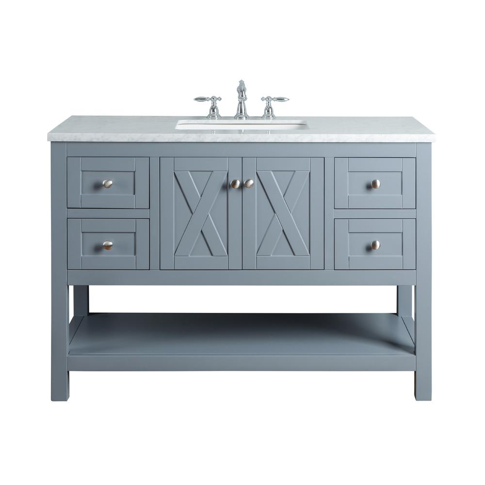 Bathroom Vanity Top With Sink Stufurhome Anabelle 48 In Grey Single Sink Bathroom Vanity With Marble Vanity Top And White Basin