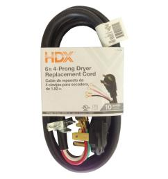 hdx 6 ft 4 wire dryer replacement cord hd 601 004 the home depot prong dryer outlet wiring furthermore 4 prong dryer plug wiring [ 1000 x 1000 Pixel ]