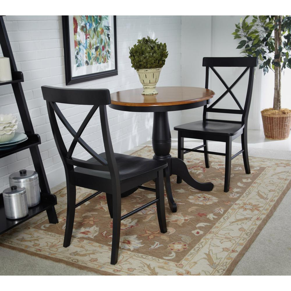 Sturdy Dining Room Chairs Black Wood X Back Dining Chair Set Of 2