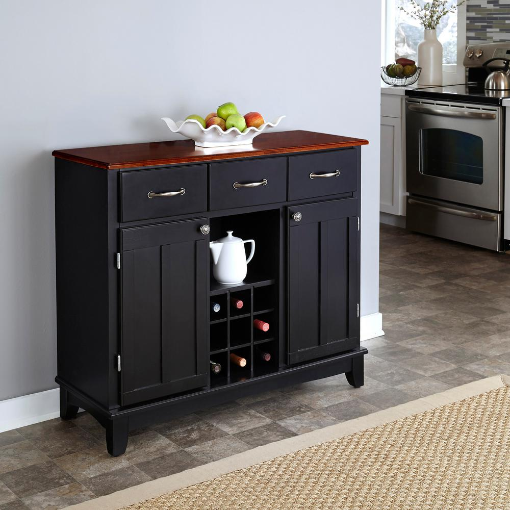 kitchen buffet utilities home styles black and cherry with wine storage 5100 0042 the depot