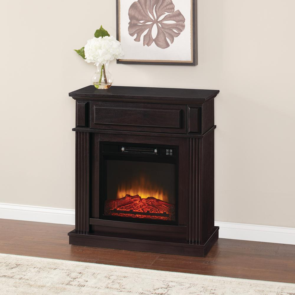 Hampton Bay Electric Fireplace Infrared 31 In Freestanding Compact Espresso New 872076034223  eBay