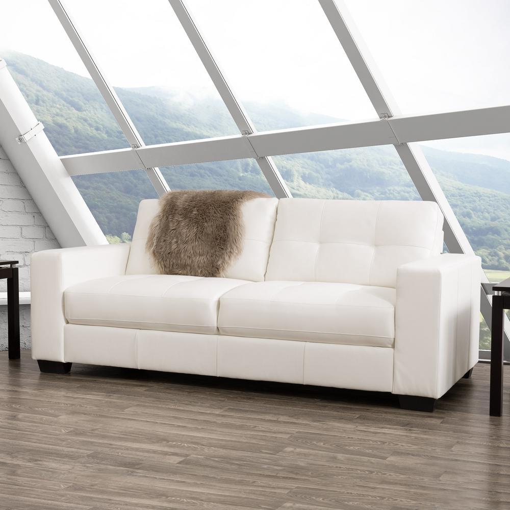 white tufted leather sofa j m premium bed sofas loveseats living room furniture club bonded