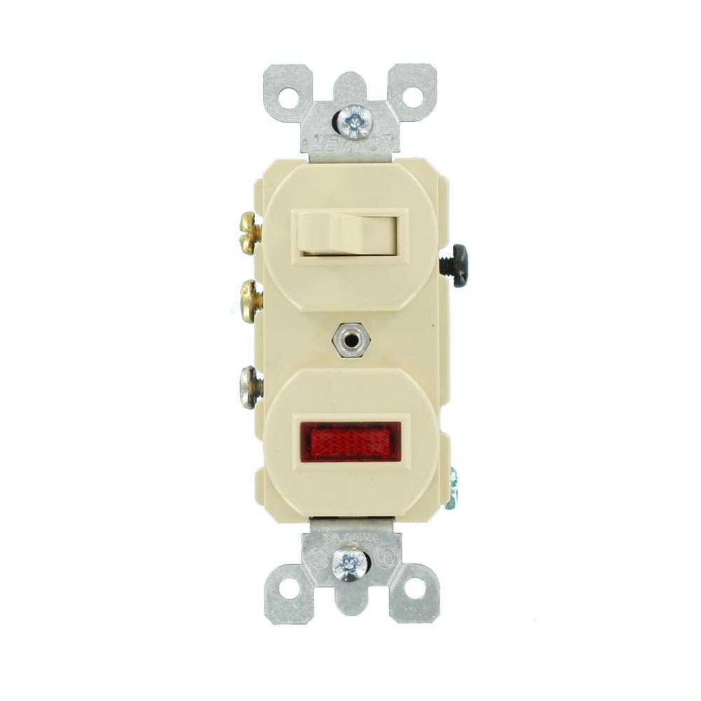 medium resolution of leviton 15 amp commercial grade combination 3 way toggle switch pilot light ivory