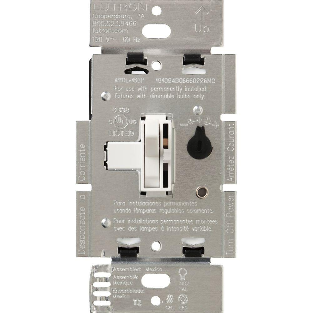 hight resolution of lutron toggler 250w c l dimmer switch for dimmable led halogen and incandescent bulbs single pole or 3 way brown aycl 253p br the home depot