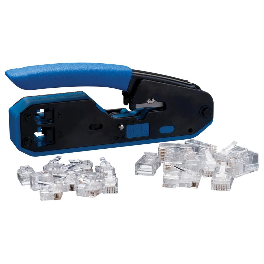 hight resolution of ideal rj45 rj11 modular plug crimper kit tool with 10 rj45 8p8c and