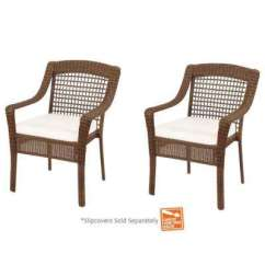 Woven Outdoor Chair Local Rentals Stackable Dining Chairs Patio The Home Depot Spring Haven Brown Wicker