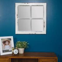 Pinnacle Rustic Framed Window Pane Distressed White ...