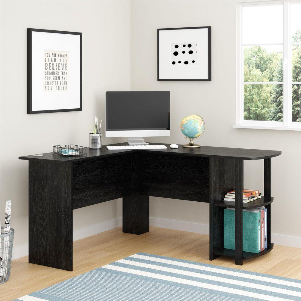 Ameriwood Corner Desk with 2Shelves in Black Ebony Ash