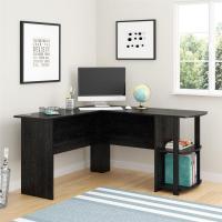 Ameriwood Corner Desk with 2-Shelves in Black Ebony Ash ...