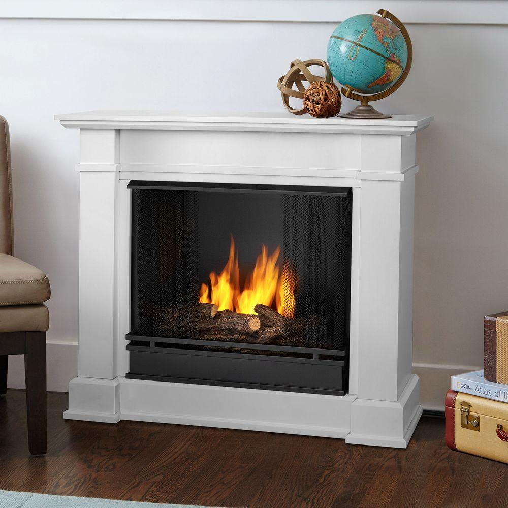 Real Flame Devin 36 in Ventless Gel Fuel Fireplace in White1220W  The Home Depot