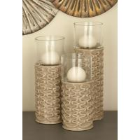 Brown Ceramic and Glass Ridged Candle Holders (Set of 3 ...