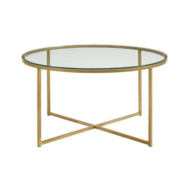 walker edison furniture company 36 in. glass/gold coffee table with