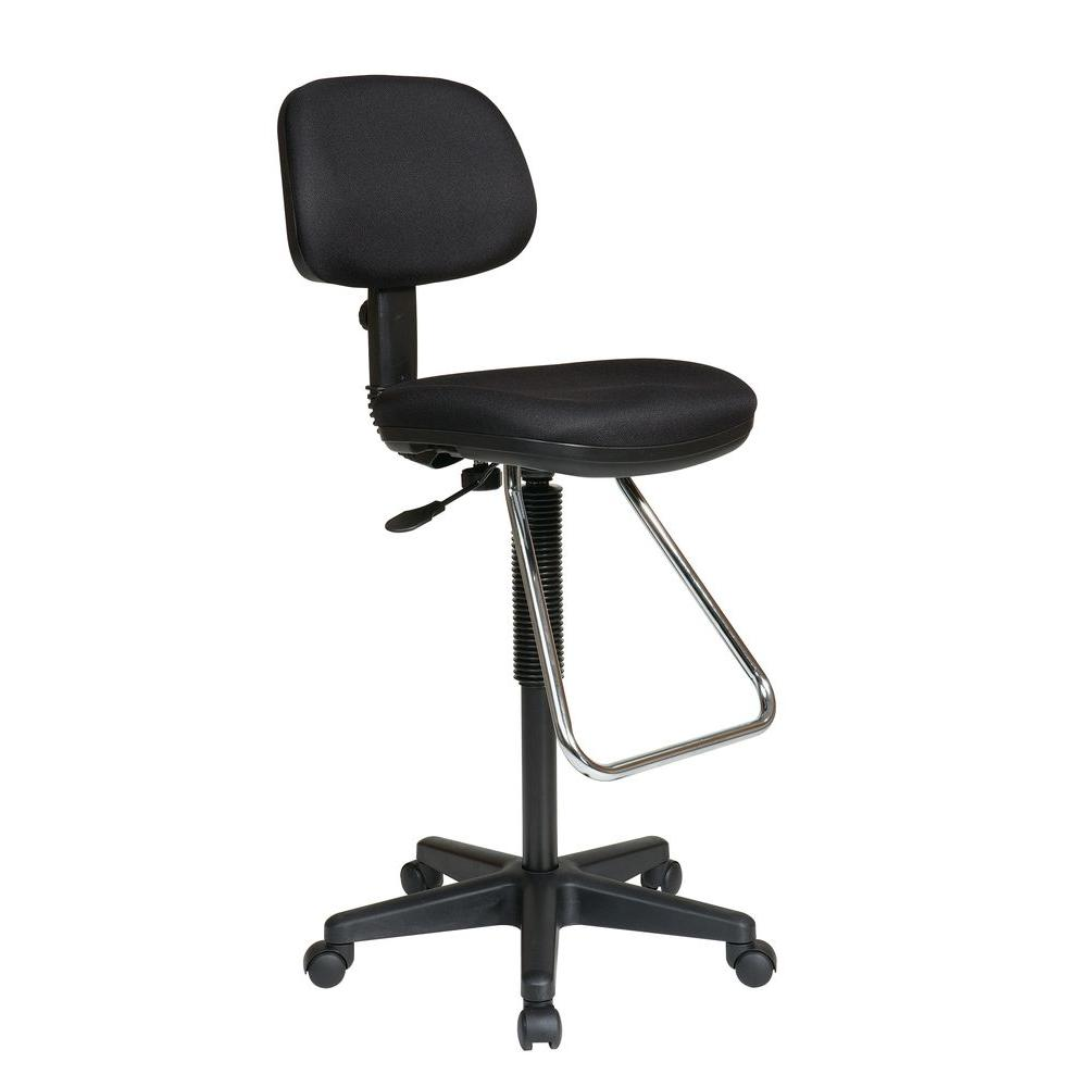 desk chair footrest resin stacking chairs work smart black office dc430 231 the home depot