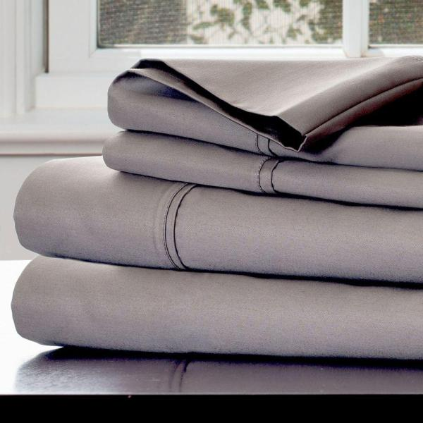 Lucid 5-piece White 600 Thread Count Cotton Blend Split King Sheet Set-lu06skwhcs - Home Depot