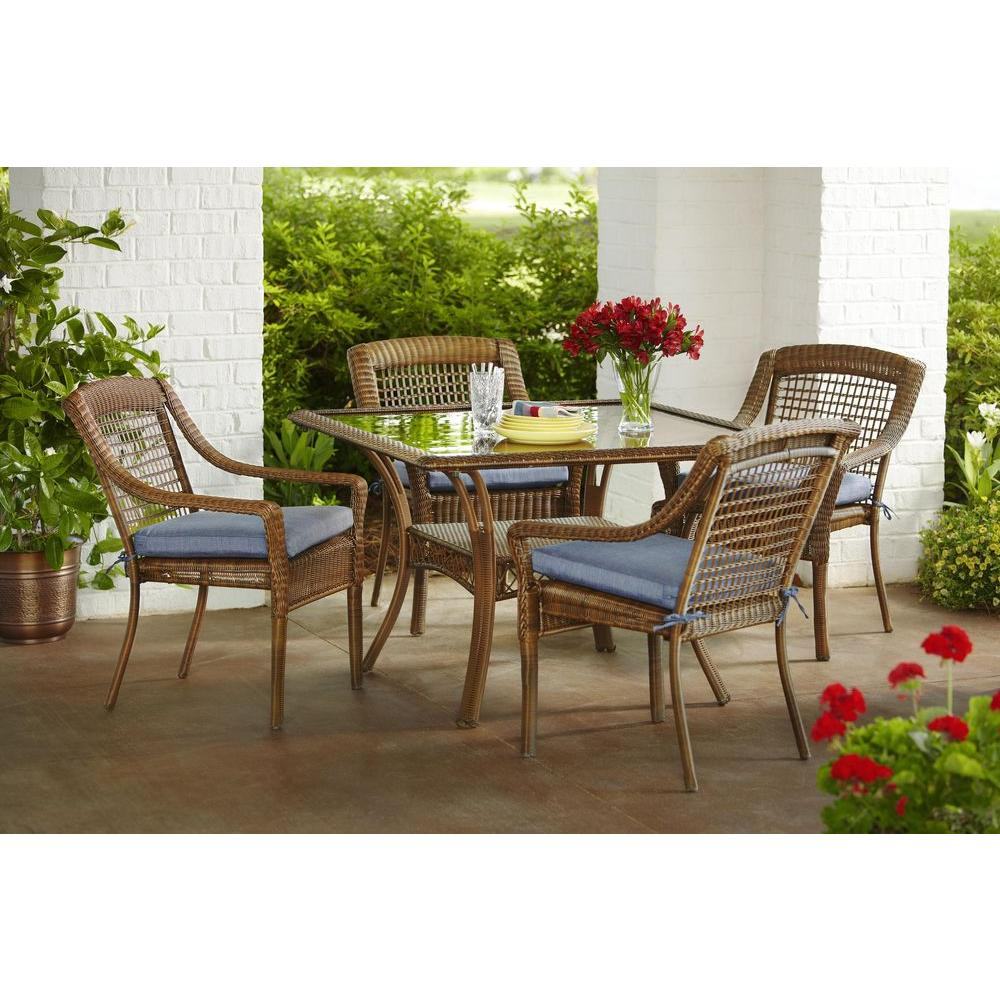 all weather wicker outdoor chairs chair covers kmart nz hampton bay spring haven brown 5 piece patio dining set