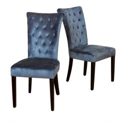 Velvet Tufted Chair Outdoor Patio Cushions Clearance Noble House Viola Spanish Blue Dining Chairs Set Of 2