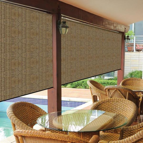 Coolaroo Walnut Cordless Exterior Roller Shade - 120 In. X 96 L-460082 Home Depot