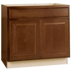 Kitchen Base Cabinet Ikea Countertop Hampton Bay Assembled 36x34 5x24 In Sink Cognac