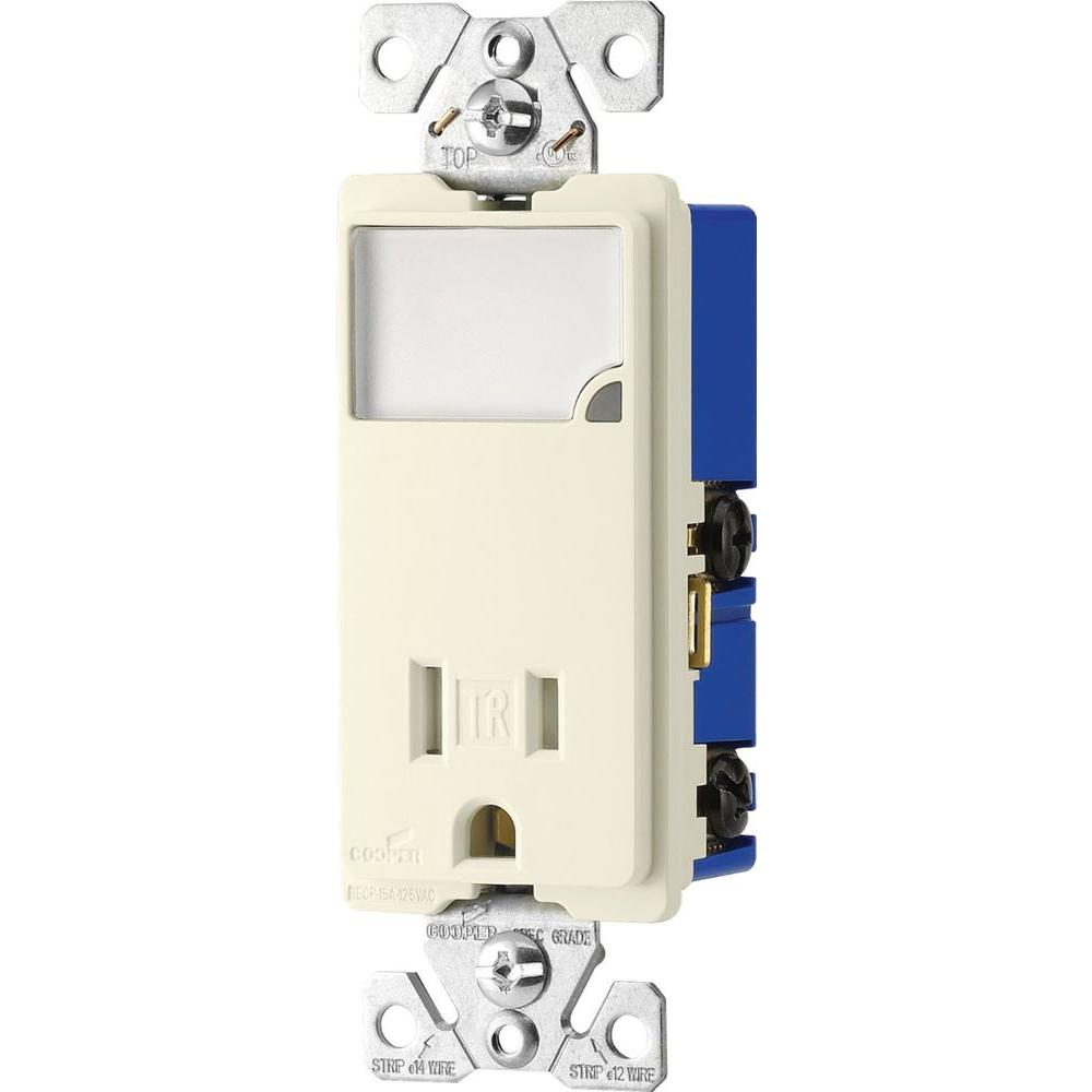 medium resolution of 3 wire receptacle combo nightlight with double pole tamper resistant light almond